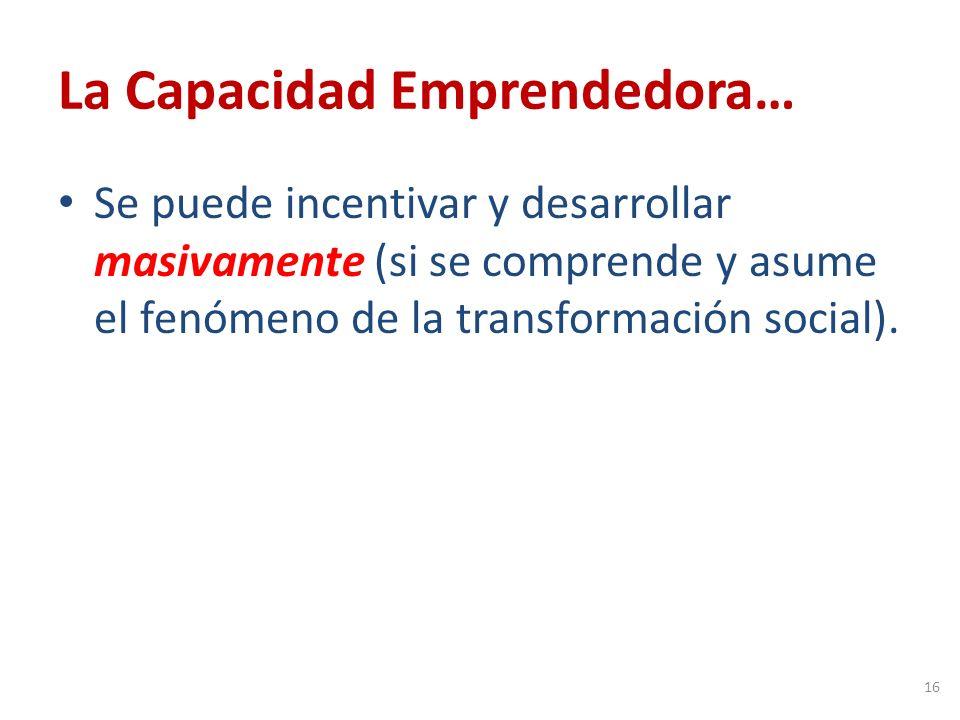 La Capacidad Emprendedora… Se puede incentivar y desarrollar masivamente (si se comprende y asume el fenómeno de la transformación social).