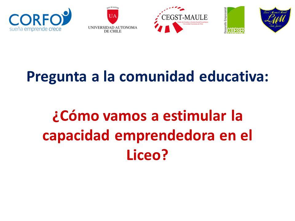 Pregunta a la comunidad educativa: ¿Cómo vamos a estimular la capacidad emprendedora en el Liceo