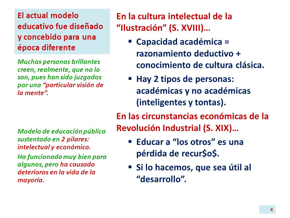 El actual modelo educativo fue diseñado y concebido para una época diferente En la cultura intelectual de la Ilustración (S.