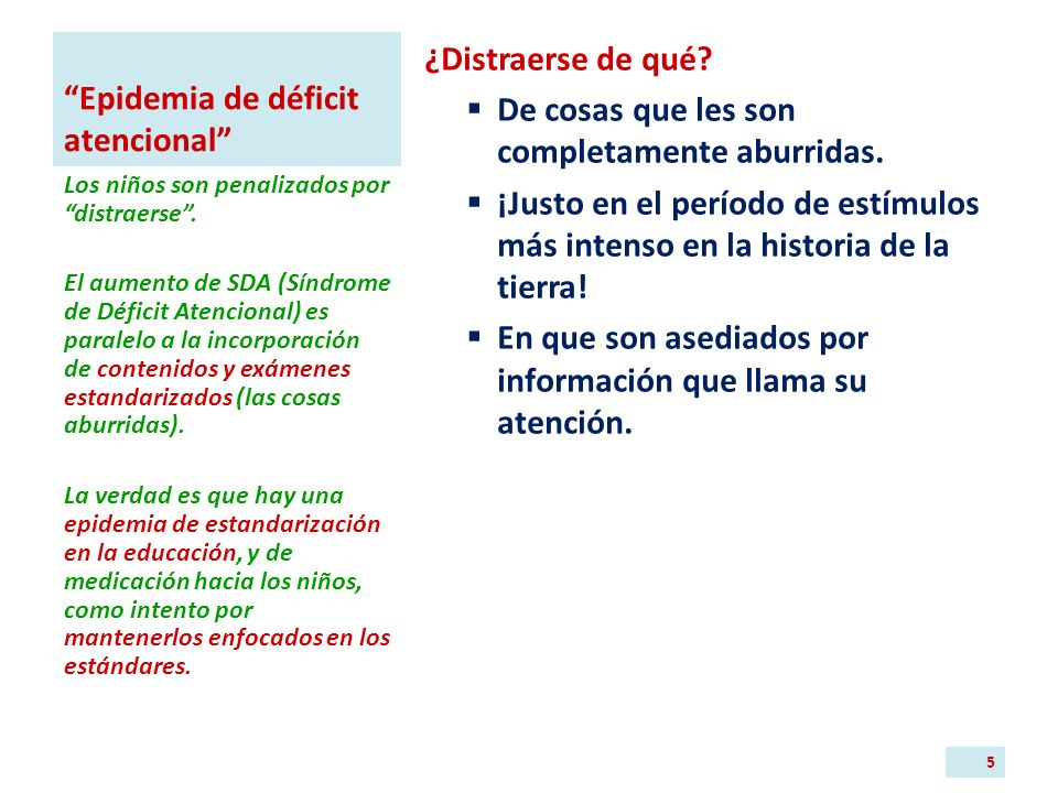 Epidemia de déficit atencional ¿Distraerse de qué.