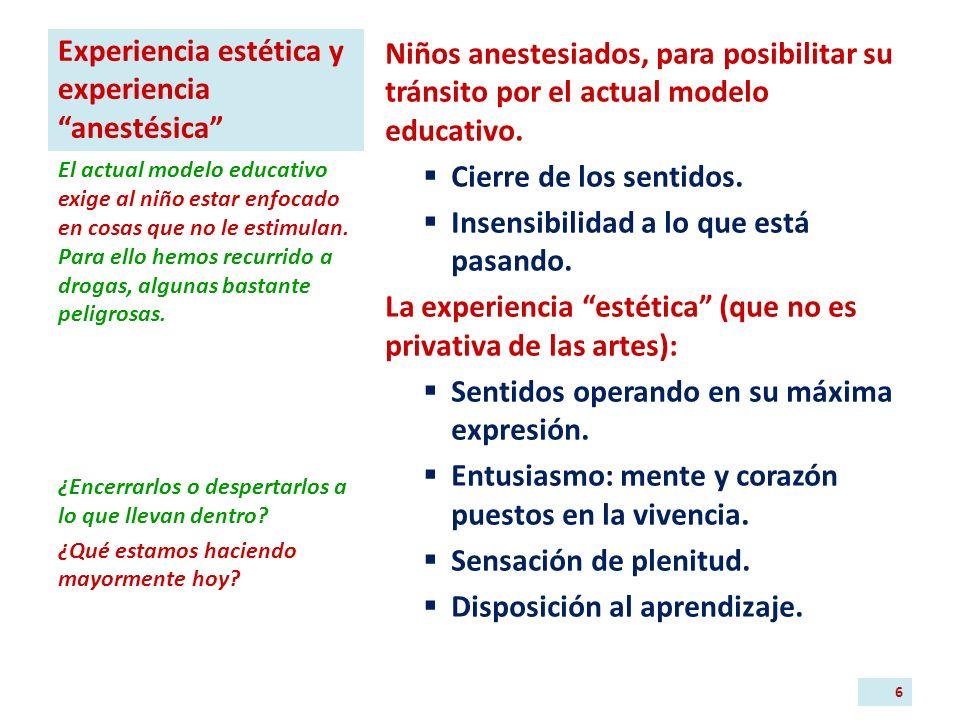 Experiencia estética y experiencia anestésica Niños anestesiados, para posibilitar su tránsito por el actual modelo educativo.