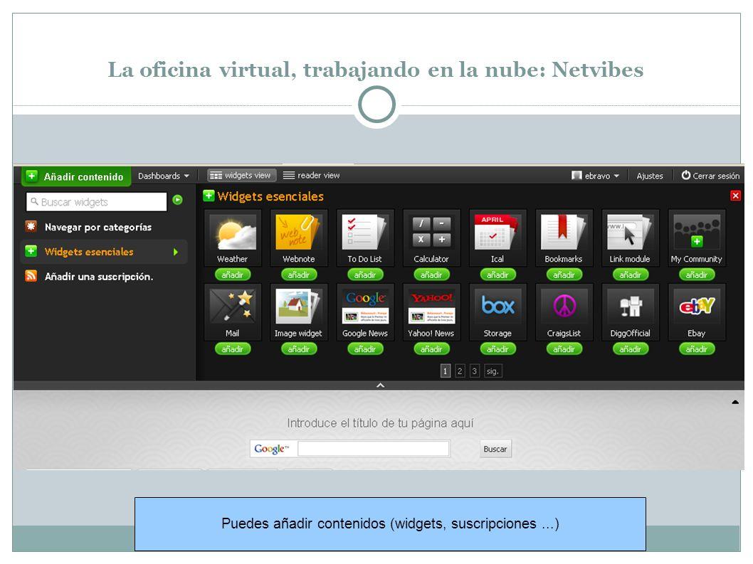 La oficina virtual, trabajando en la nube: Netvibes Puedes añadir contenidos (widgets, suscripciones...)