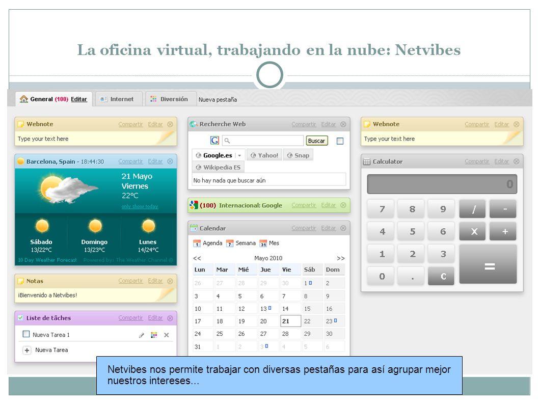 La oficina virtual, trabajando en la nube: Netvibes Netvibes nos permite trabajar con diversas pestañas para así agrupar mejor nuestros intereses...