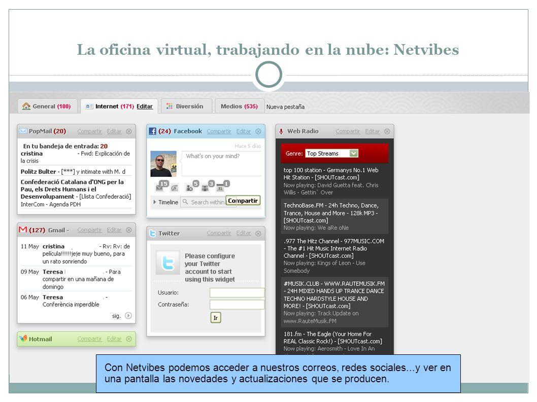La oficina virtual, trabajando en la nube: Netvibes Con Netvibes podemos acceder a nuestros correos, redes sociales...y ver en una pantalla las novedades y actualizaciones que se producen.