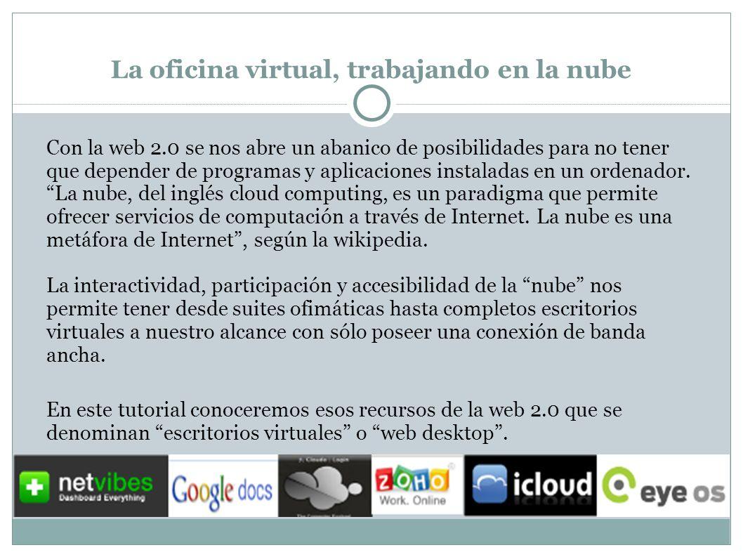 La oficina virtual, trabajando en la nube: Netvibes El acceso a nuestras aplicaciones multimedia podemos agruparlo en una nueva pestaña.