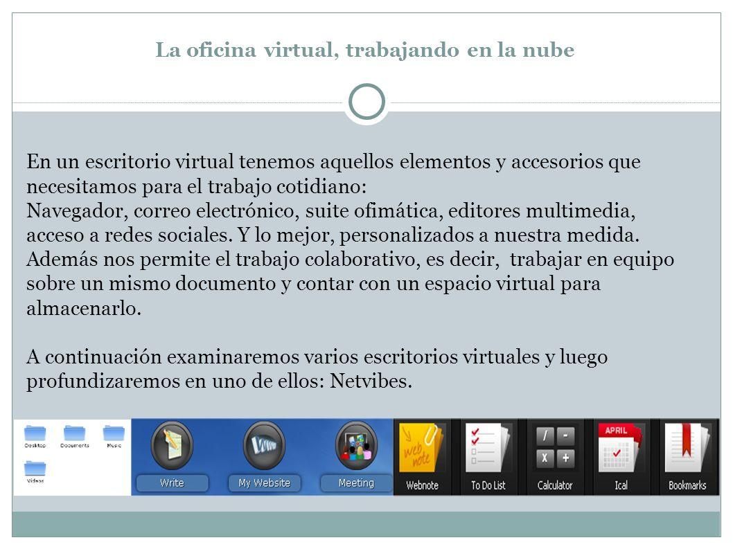 En un escritorio virtual tenemos aquellos elementos y accesorios que necesitamos para el trabajo cotidiano: Navegador, correo electrónico, suite ofimática, editores multimedia, acceso a redes sociales.