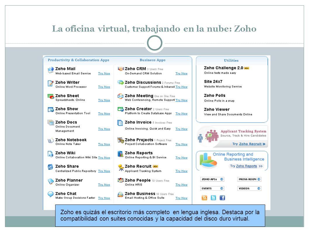 La oficina virtual, trabajando en la nube: Microsoft Workspace El escritorio virtual de Microsoft requiere tener instalada la suite Microsoft Office