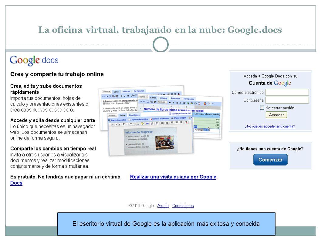 La oficina virtual, trabajando en la nube: Google.docs El escritorio virtual de Google es la aplicación más exitosa y conocida