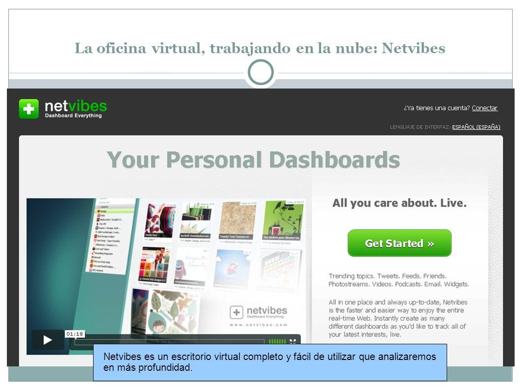 La oficina virtual, trabajando en la nube: Netvibes Netvibes es un escritorio virtual completo y fácil de utilizar que analizaremos en más profundidad.