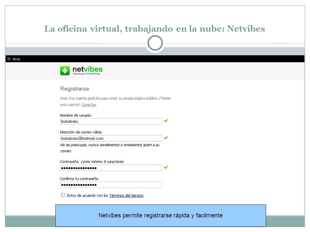 La oficina virtual, trabajando en la nube: Netvibes Netvibes permite registrarse rápida y facilmente