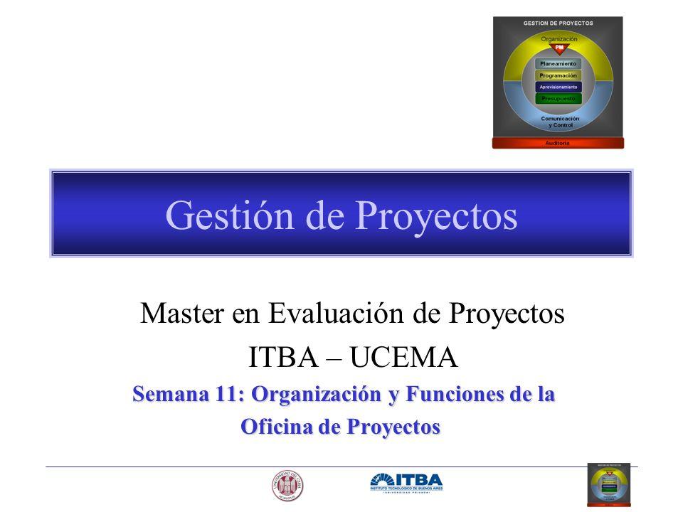 Gestión de Proyectos Master en Evaluación de Proyectos ITBA – UCEMA Semana 11: Organización y Funciones de la Oficina de Proyectos Oficina de Proyecto