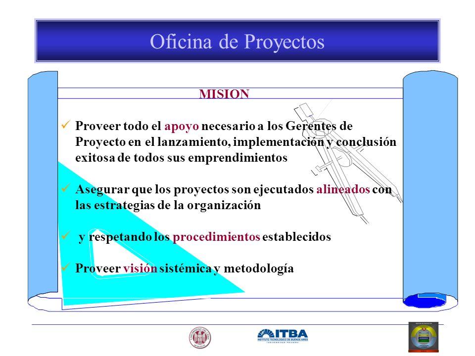 Oficina de Proyectos MISION Proveer todo el apoyo necesario a los Gerentes de Proyecto en el lanzamiento, implementación y conclusión exitosa de todos