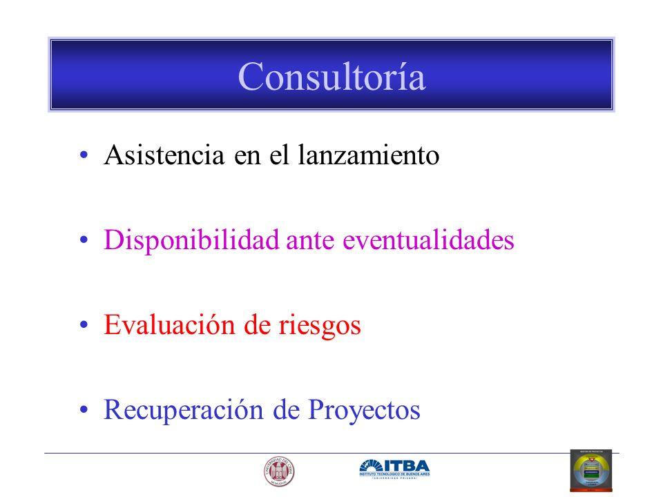 Consultoría Asistencia en el lanzamiento Disponibilidad ante eventualidades Evaluación de riesgos Recuperación de Proyectos