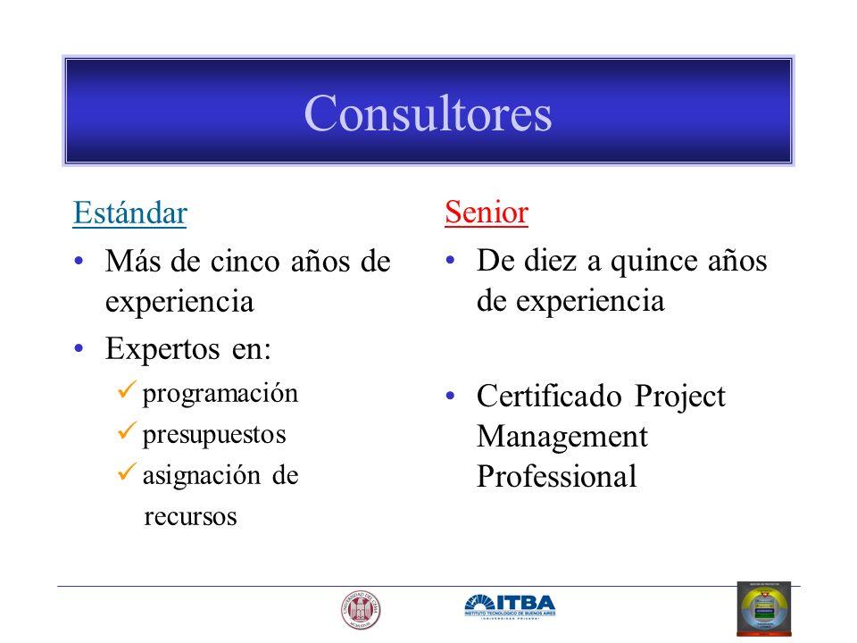 Consultores Estándar Más de cinco años de experiencia Expertos en: programación presupuestos asignación de recursos Senior De diez a quince años de ex