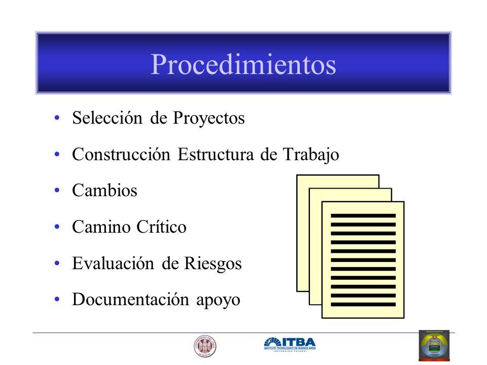 Procedimientos Selección de Proyectos Construcción Estructura de Trabajo Cambios Camino Crítico Evaluación de Riesgos Documentación apoyo