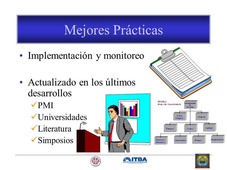Mejores Prácticas Implementación y monitoreo Actualizado en los últimos desarrollos PMI Universidades Literatura Simposios