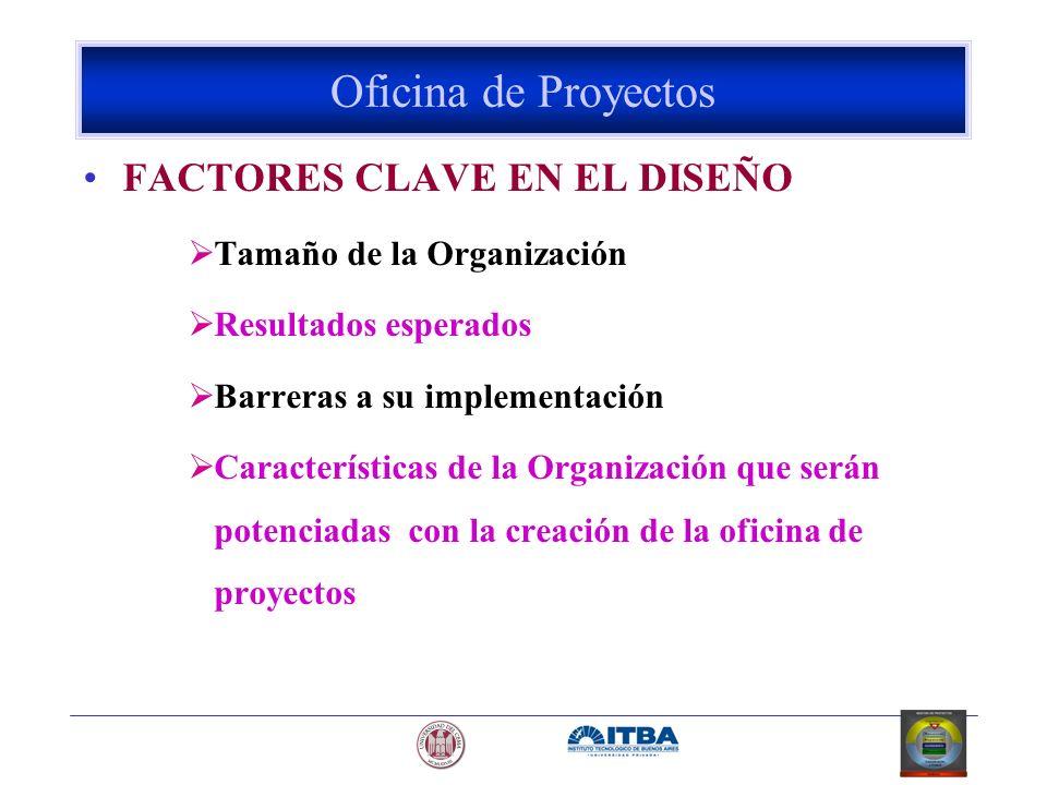 FACTORES CLAVE EN EL DISEÑO Tamaño de la Organización Resultados esperados Barreras a su implementación Características de la Organización que serán p
