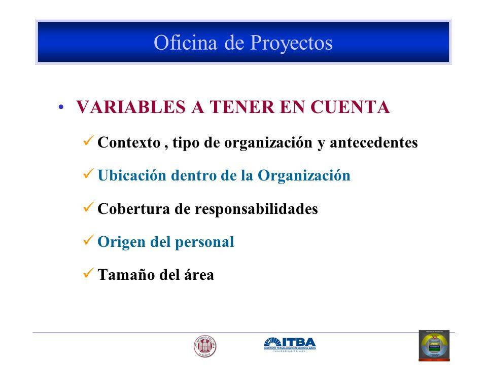 VARIABLES A TENER EN CUENTA Contexto, tipo de organización y antecedentes Ubicación dentro de la Organización Cobertura de responsabilidades Origen de