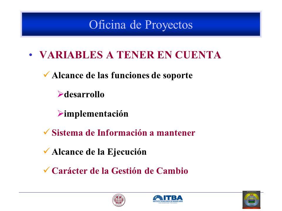 VARIABLES A TENER EN CUENTA Alcance de las funciones de soporte desarrollo implementación Sistema de Información a mantener Alcance de la Ejecución Ca