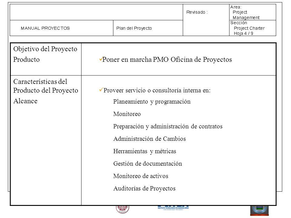 Objetivo del Proyecto Producto Poner en marcha PMO Oficina de Proyectos Características del Producto del Proyecto Alcance Proveer servicio o consultor