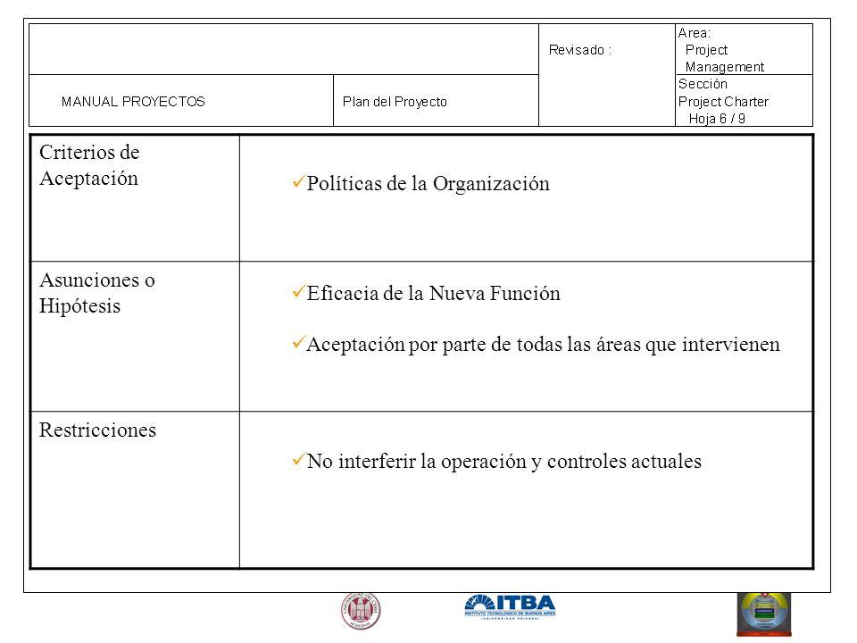 Criterios de Aceptación Políticas de la Organización Asunciones o Hipótesis Eficacia de la Nueva Función Aceptación por parte de todas las áreas que i