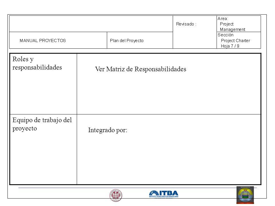 Roles y responsabilidades Ver Matriz de Responsabilidades Equipo de trabajo del proyecto Integrado por: