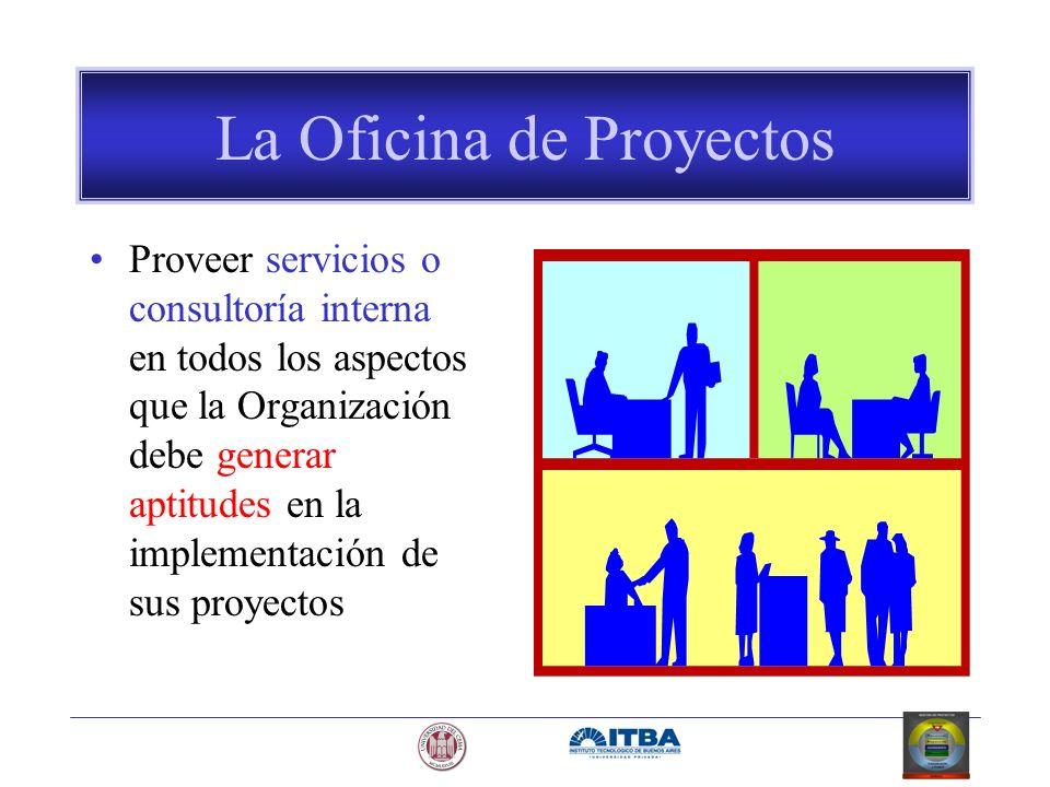 La Oficina de Proyectos Proveer servicios o consultoría interna en todos los aspectos que la Organización debe generar aptitudes en la implementación