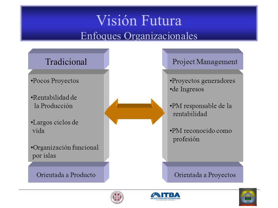 Visión Futura Enfoques Organizacionales Tradicional Pocos Proyectos Rentabilidad de la Producción Largos ciclos de vida Organización funcional por isl