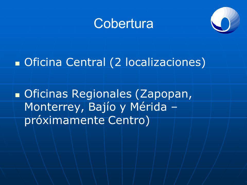 Cobertura Oficina Central (2 localizaciones) Oficinas Regionales (Zapopan, Monterrey, Bajío y Mérida – próximamente Centro)