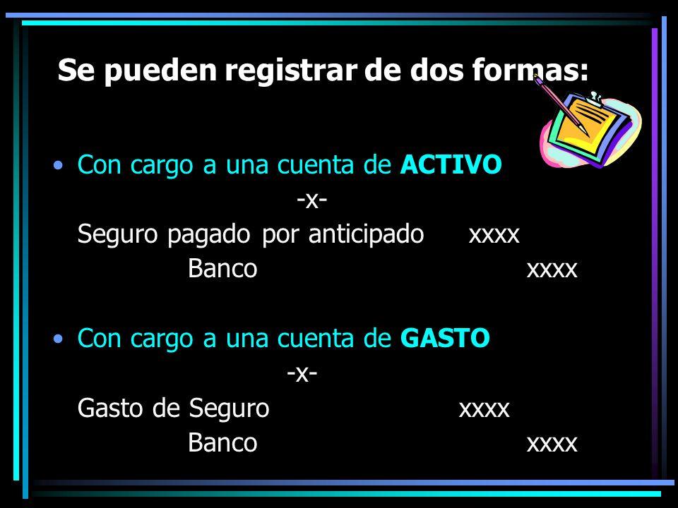 Se pueden registrar de dos formas: Con cargo a una cuenta de ACTIVO -x- Seguro pagado por anticipado xxxx Bancoxxxx Con cargo a una cuenta de GASTO -x