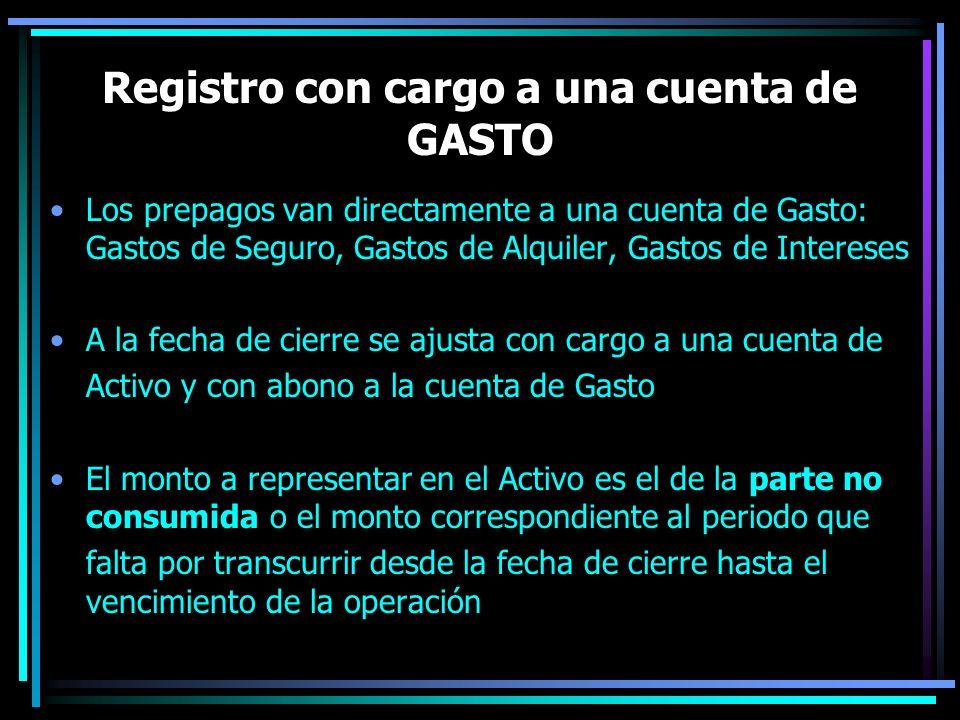 Registro con cargo a una cuenta de GASTO Los prepagos van directamente a una cuenta de Gasto: Gastos de Seguro, Gastos de Alquiler, Gastos de Interese