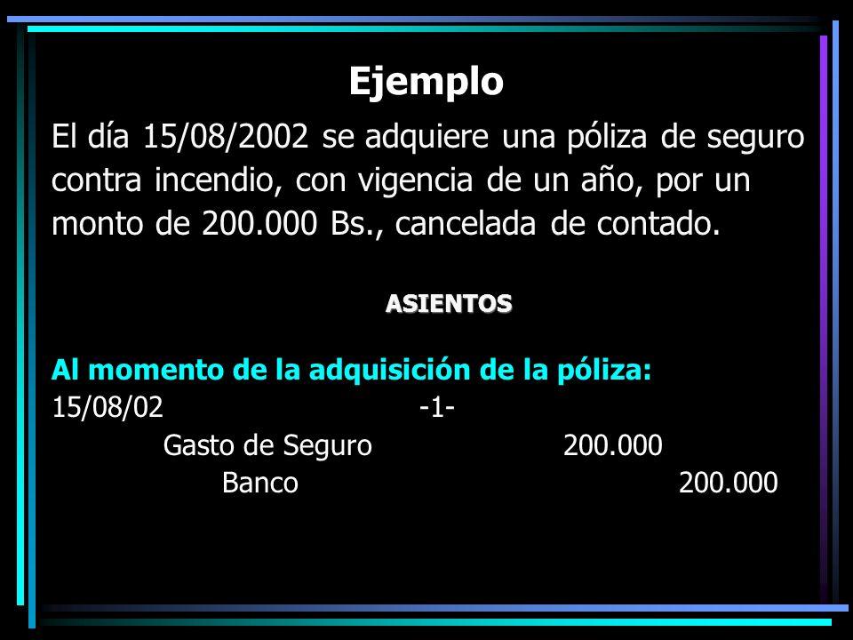 Ejemplo El día 15/08/2002 se adquiere una póliza de seguro contra incendio, con vigencia de un año, por un monto de 200.000 Bs., cancelada de contado.