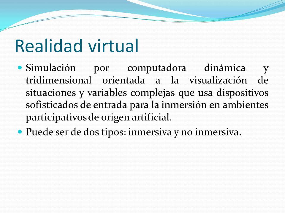 Realidad virtual Simulación por computadora dinámica y tridimensional orientada a la visualización de situaciones y variables complejas que usa dispos