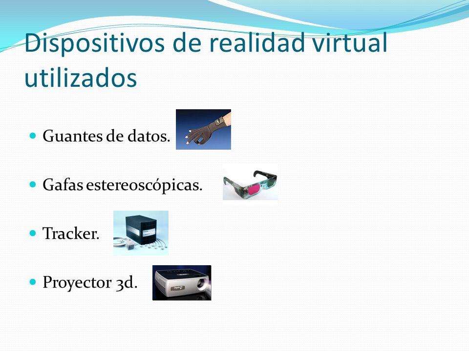 Dispositivos de realidad virtual utilizados Guantes de datos. Gafas estereoscópicas. Tracker. Proyector 3d.