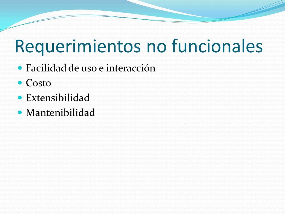Requerimientos no funcionales Facilidad de uso e interacción Costo Extensibilidad Mantenibilidad
