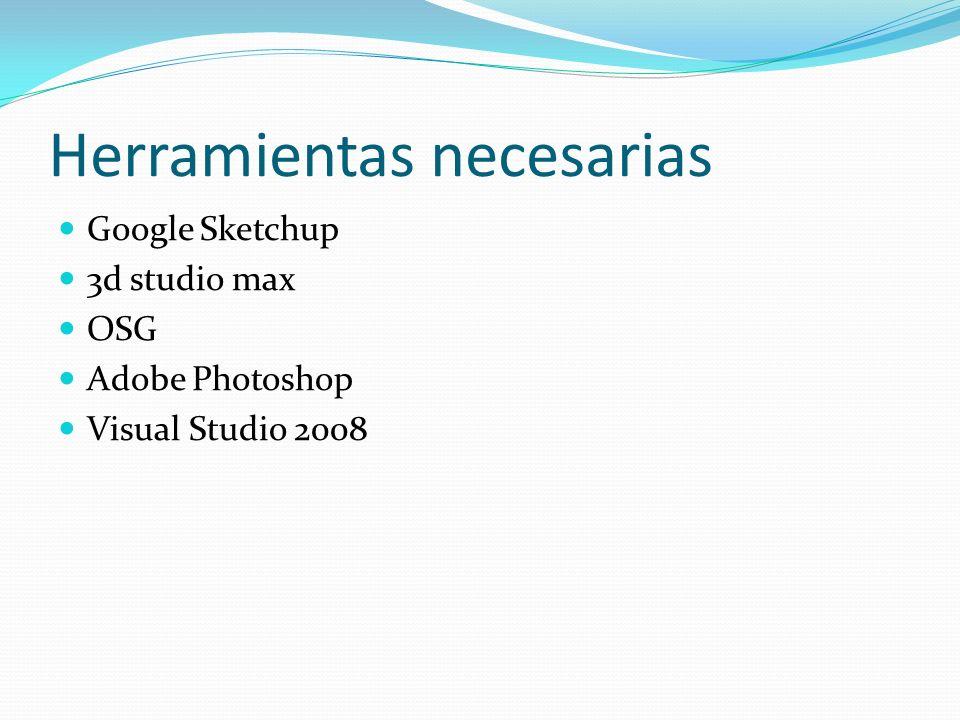 Herramientas necesarias Google Sketchup 3d studio max OSG Adobe Photoshop Visual Studio 2008