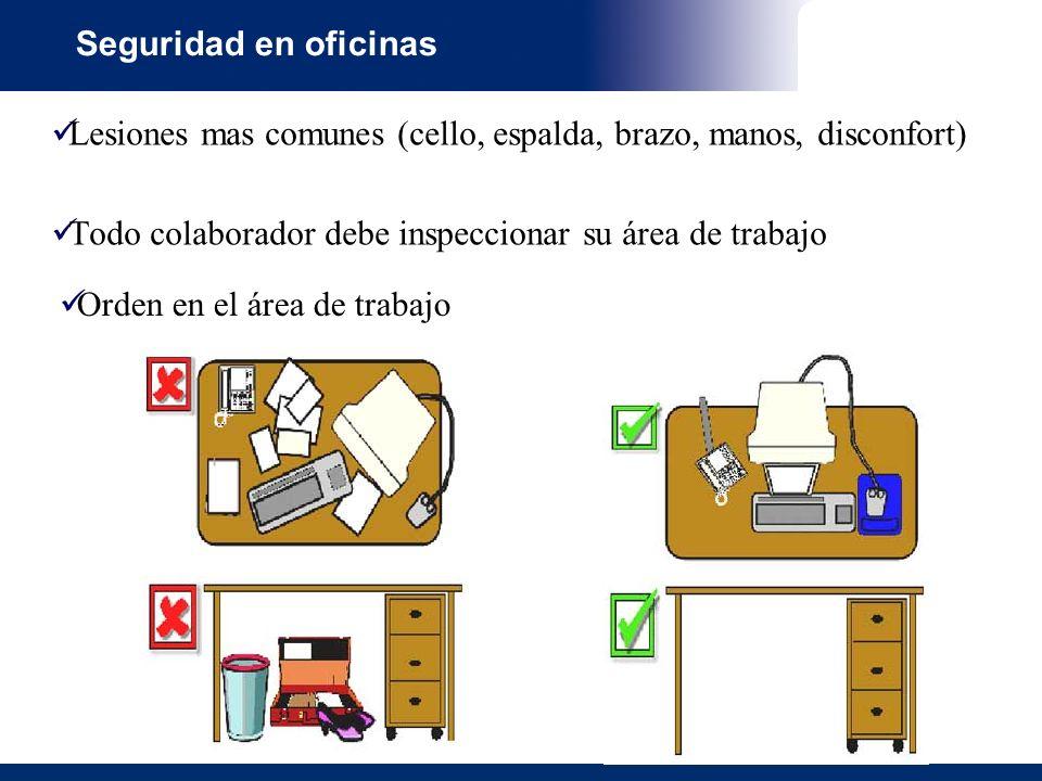 Seguridad en oficinas Lesiones mas comunes (cello, espalda, brazo, manos, disconfort) Todo colaborador debe inspeccionar su área de trabajo Orden en el área de trabajo