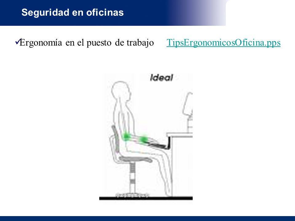 Seguridad en oficinas Ergonomía en el puesto de trabajo TipsErgonomicosOficina.pps