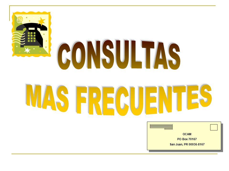 OCAM PO Box 70167 San Juan, PR 00936-8167