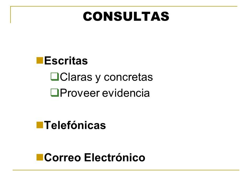 CONSULTAS Escritas Claras y concretas Proveer evidencia Telefónicas Correo Electrónico