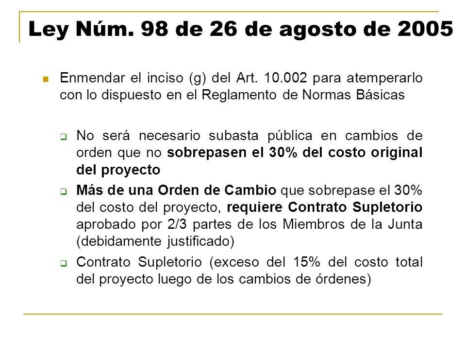 Ley Núm. 98 de 26 de agosto de 2005 Enmendar el inciso (g) del Art. 10.002 para atemperarlo con lo dispuesto en el Reglamento de Normas Básicas No ser