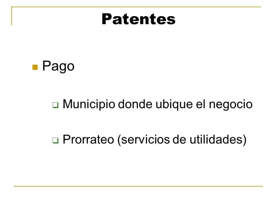 Patentes Pago Municipio donde ubique el negocio Prorrateo (servicios de utilidades)