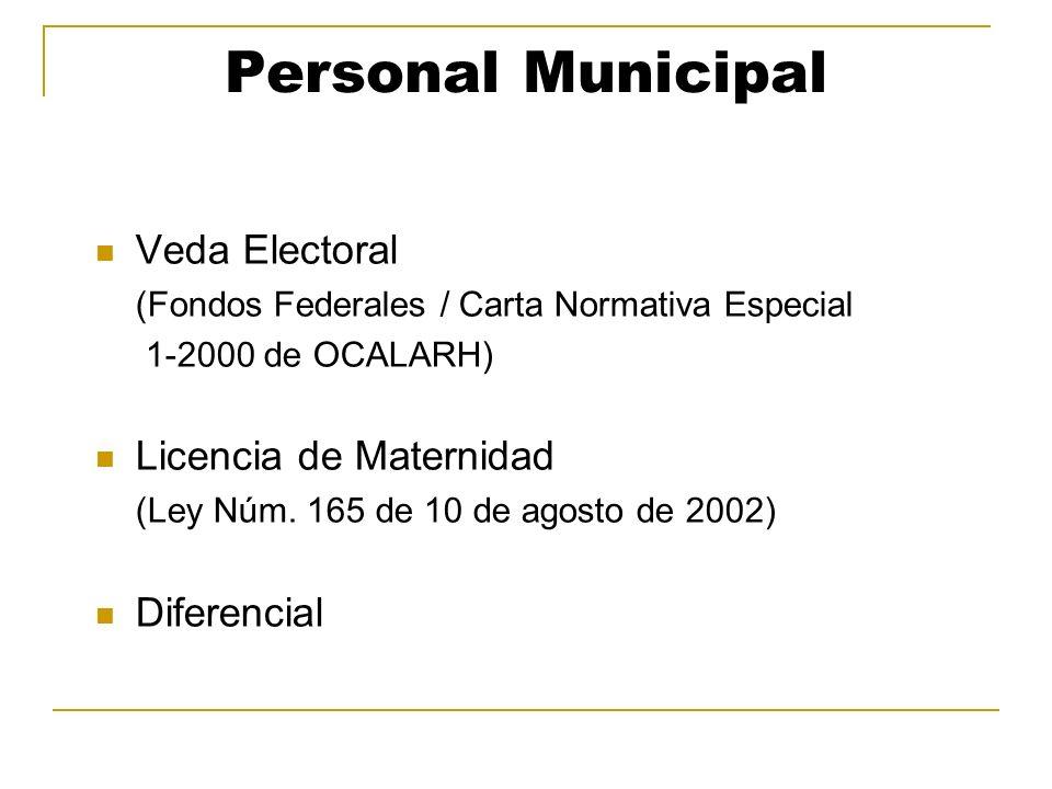 Personal Municipal Veda Electoral (Fondos Federales / Carta Normativa Especial 1-2000 de OCALARH) Licencia de Maternidad (Ley Núm. 165 de 10 de agosto