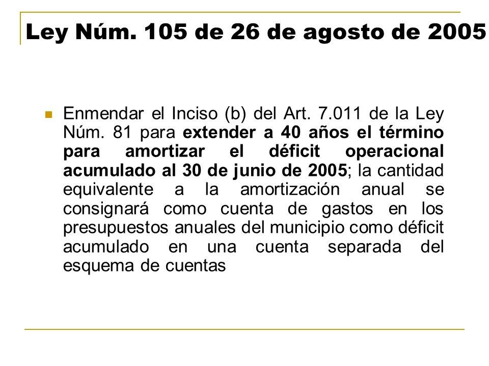 Ley Núm. 105 de 26 de agosto de 2005 Enmendar el Inciso (b) del Art. 7.011 de la Ley Núm. 81 para extender a 40 años el término para amortizar el défi