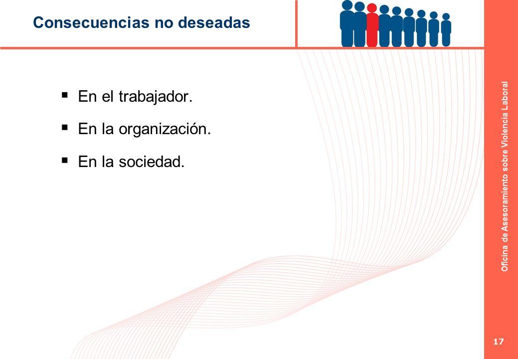 Oficina de Asesoramiento sobre Violencia Laboral 17 Consecuencias no deseadas En el trabajador. En la organización. En la sociedad.