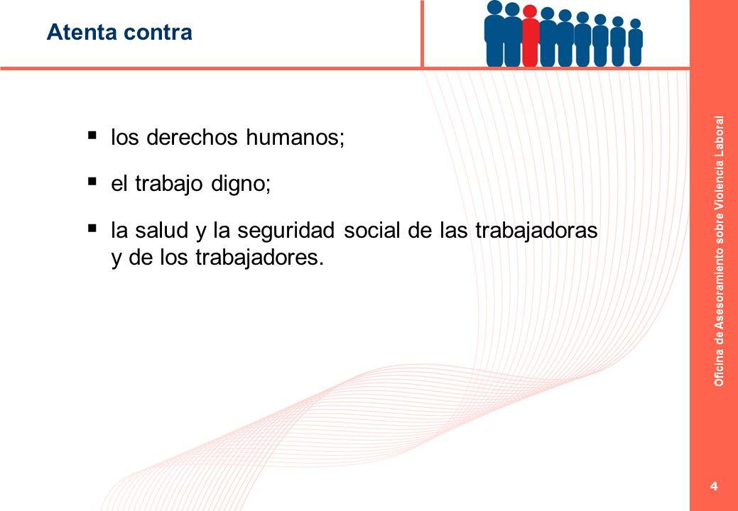 Oficina de Asesoramiento sobre Violencia Laboral 4 Atenta contra los derechos humanos; el trabajo digno; la salud y la seguridad social de las trabaja