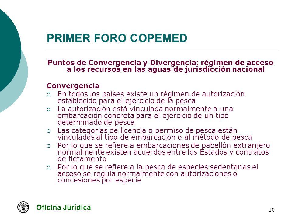 Oficina Jurídica 10 PRIMER FORO COPEMED Puntos de Convergencia y Divergencia: régimen de acceso a los recursos en las aguas de jurisdicción nacional C