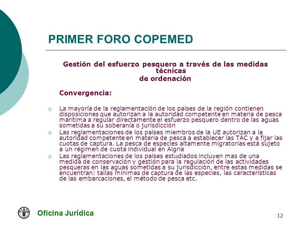 Oficina Jurídica 12 PRIMER FORO COPEMED Gestión del esfuerzo pesquero a través de las medidas técnicas de ordenación Convergencia: La mayoría de la re