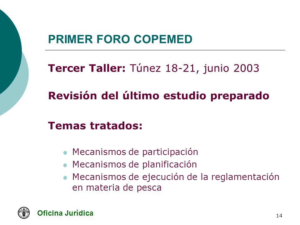 Oficina Jurídica 14 PRIMER FORO COPEMED Tercer Taller: Túnez 18-21, junio 2003 Revisión del último estudio preparado Temas tratados: Mecanismos de par