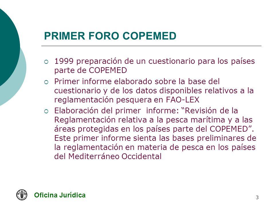 Oficina Jurídica 14 PRIMER FORO COPEMED Tercer Taller: Túnez 18-21, junio 2003 Revisión del último estudio preparado Temas tratados: Mecanismos de participación Mecanismos de planificación Mecanismos de ejecución de la reglamentación en materia de pesca